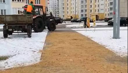Коммунальники засыпали Гомель песком – видеофакт
