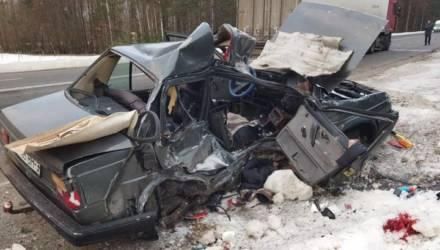 В Речицком районе легковушка влетела под фуру. Водитель легкового автомобиля — в больнице