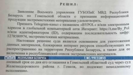 Гомельский суд признал Telegram-канал «BYPOL» экстремистским