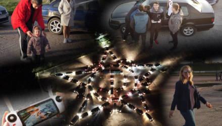 Гомельские автолюбители поздравили ветеранов с праздником Победы, выстроив огромную звезду из 76 автомобилей