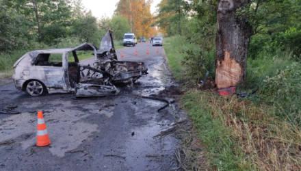 На Гомельщине двое парней катали девушку на VW Golf, но врезались в дерево – она погибла
