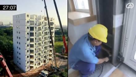 Строители возвели 10-этажный дом всего за 29 часов, и видео шокирует каждого, кто сомневается